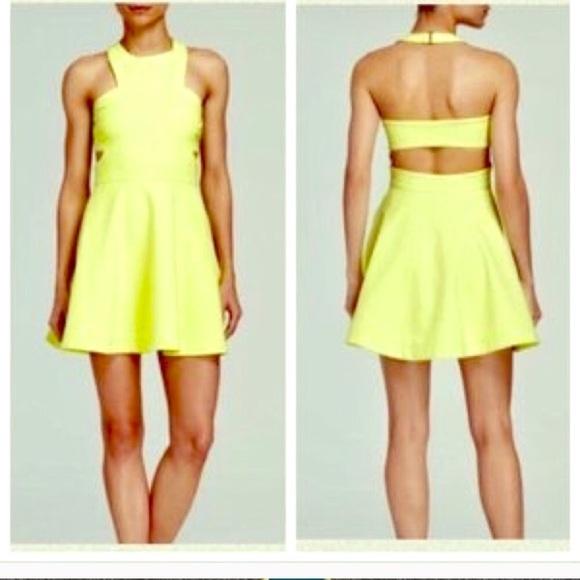 fdf5af4fd Elizabeth and James Dresses & Skirts - Elizabeth & James yellow neon cutout  zipper dress